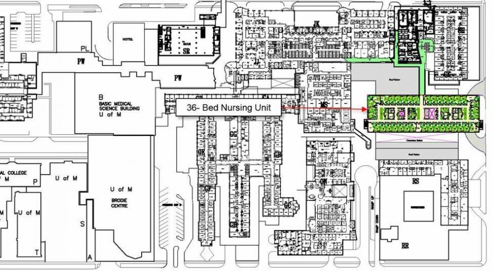 floor plan for Health Science Centre, Winnipeg, Manitoba, Canada