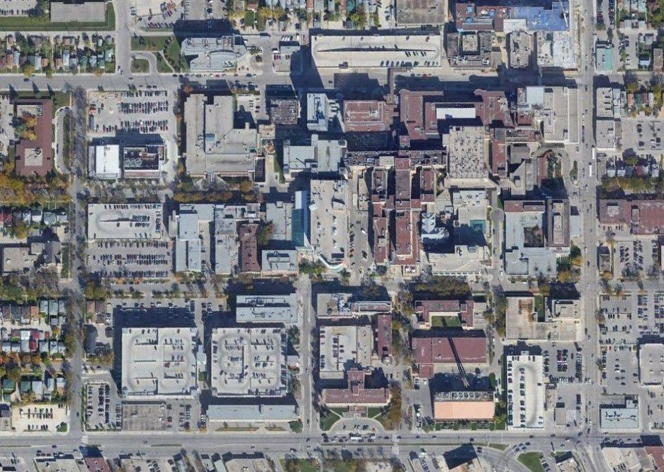 aerial view of Health Science Centre in Winnipeg, Manitoba, Canada