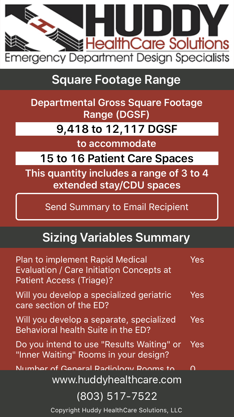 screen shot of Huddy ED SizeIt app square footage range and sizing variables summary