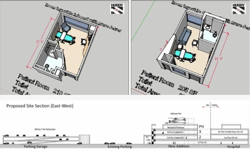 floor plan for patient room for NMC