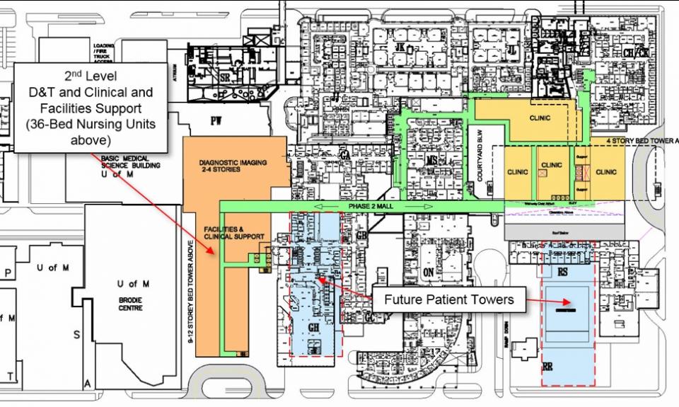 2nd level floorplan for Health Science Centre, Winnipeg, Manitoba, Canada