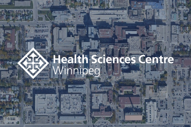 aerial view of building overlaid with Health Sciences Centre Winnipeg logo