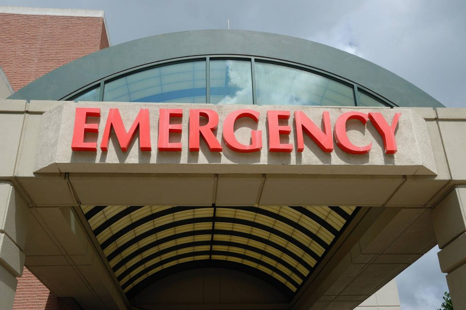 exterior Emergency room sign on building