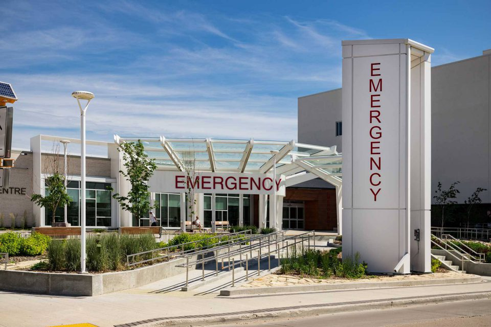 exterior of emergency room facility entrance
