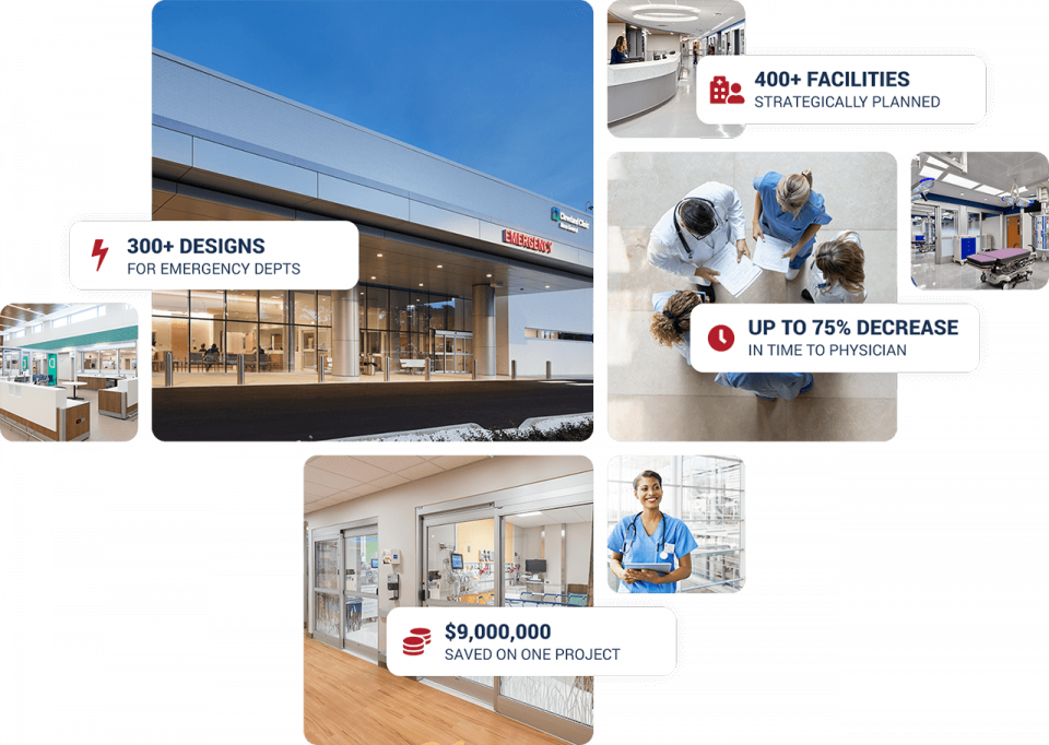 collage of emergency room photos with Huddy Healthcare stats