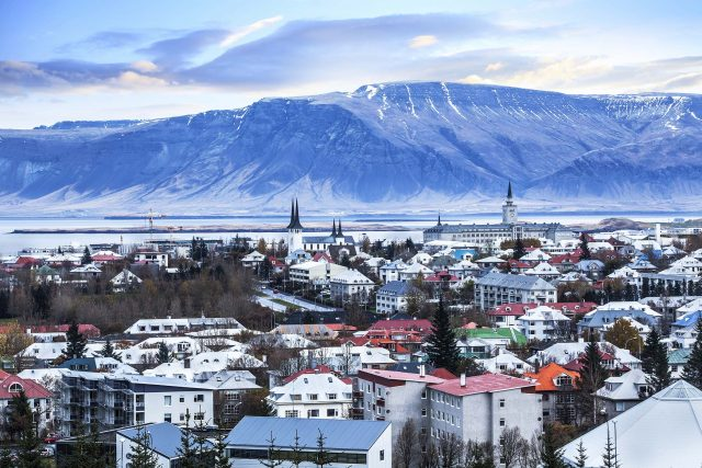 beautiful aerial view of Reykjavik city, Iceland
