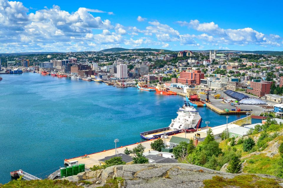 panoramic view of St John's Harbour in Newfoundland Canada