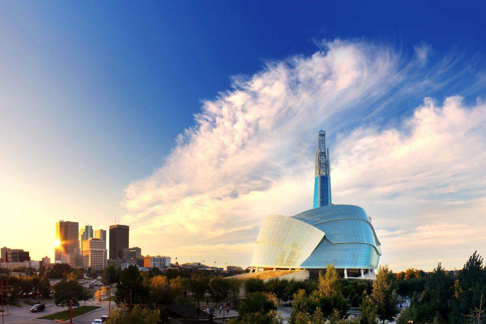 Winnipeg skyline and the Human Rights Museum