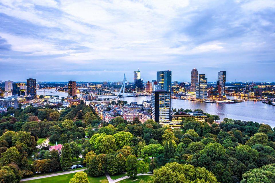 Rotterdam Skyline in sunset
