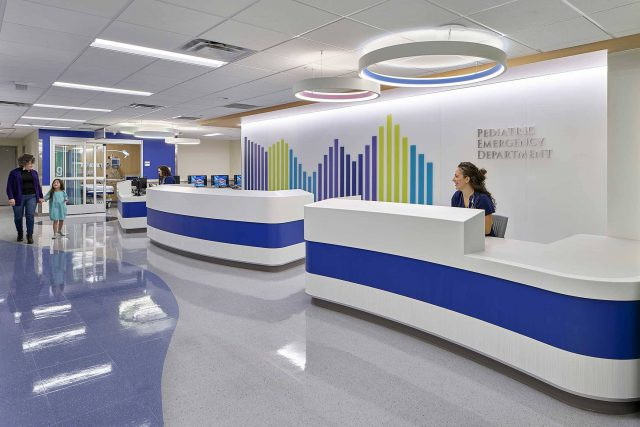 beautiful reception area for Pediatric Emergency Department