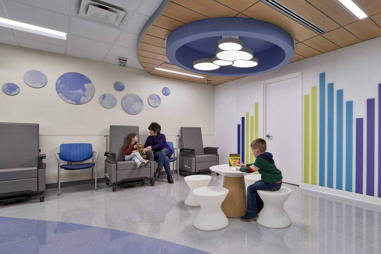 children wait in waiting room of pediatric medical facility