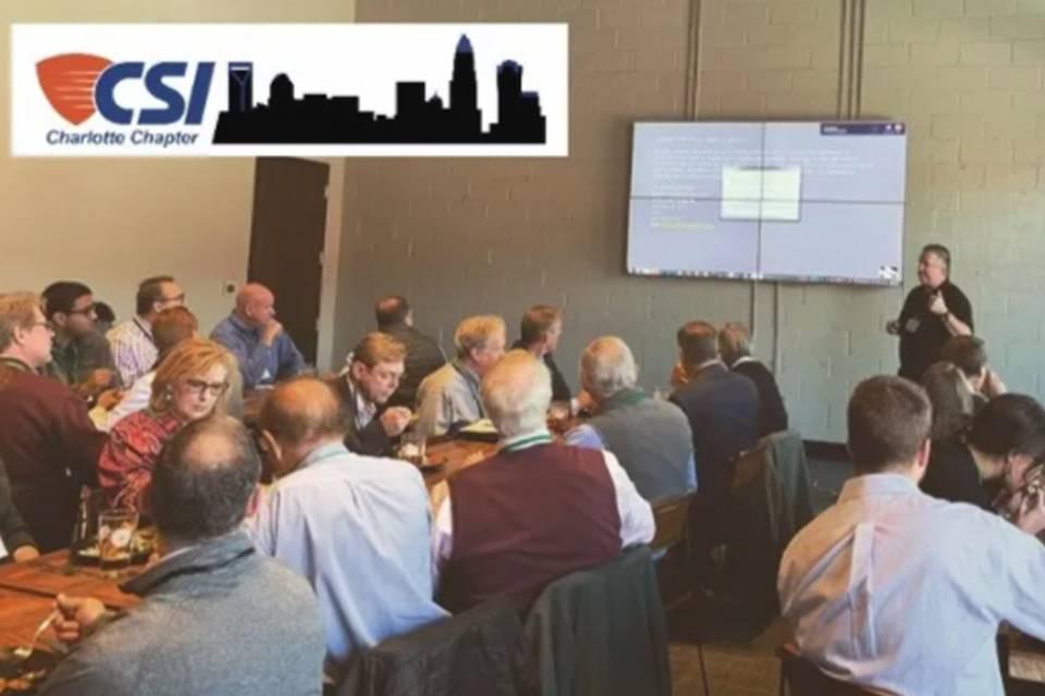 Jon Huddy presenting to group at CSI Charlotte Chapter