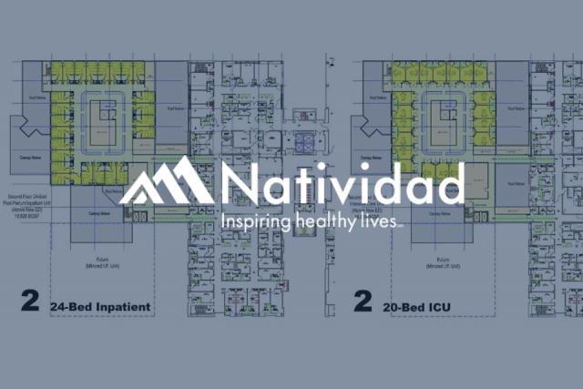 floor plan overlaid with Natividad logo