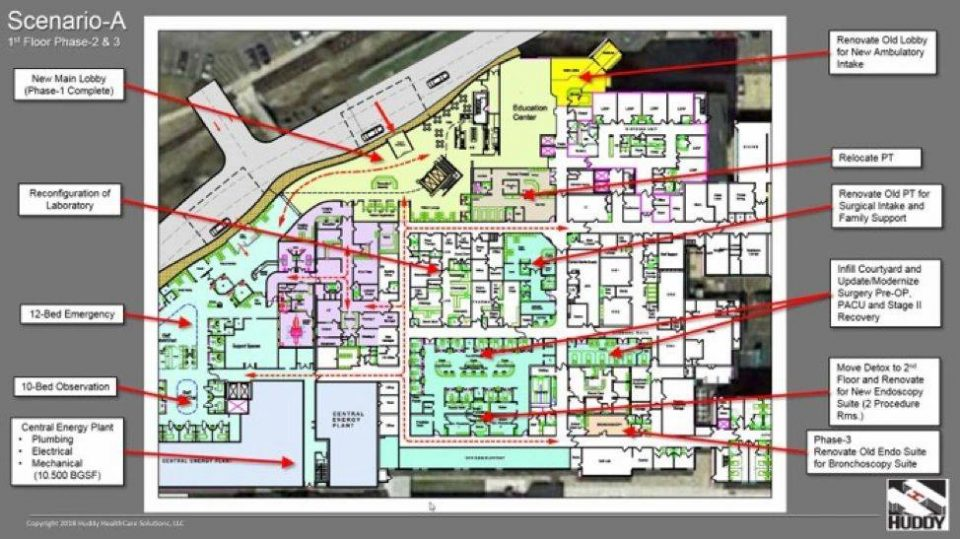 scenario-A floor plan for Millcreek Community Hospital